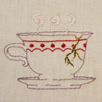 Embroidered teacup